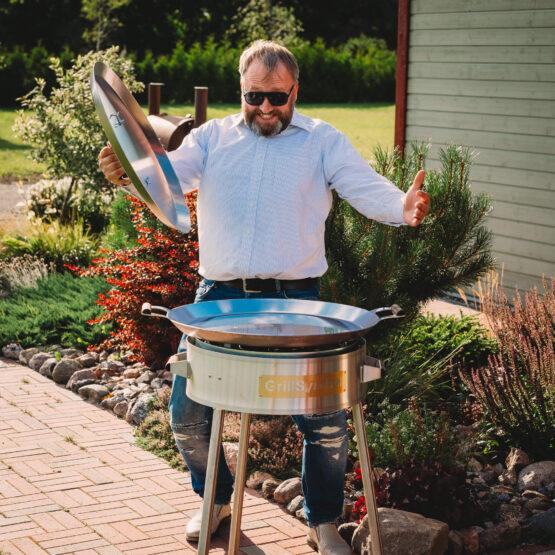 GrillSymbol Paella Frying Pan Set PRO-580 inox
