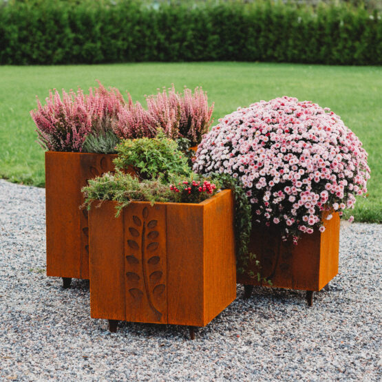 GrillSymbol Cor-Ten Steel Flower Pot Set Fat Ballerina