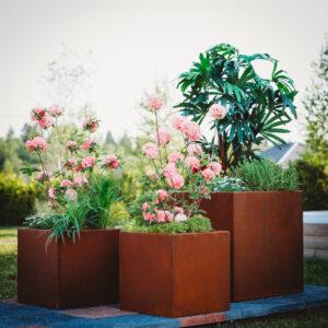 GrillSymbol Cor-Ten Steel Flower Pot Set of 3 Fiora - 2